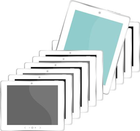 vector illustration of white tablet pc set - isolated on white Vector