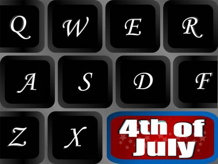 USA independence key on computer keyboard - vector Vector