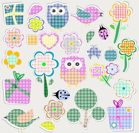 applique flower: Scrapbook nature and animal set. Seamless vector background