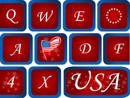 Close-up of Computer keyboard with red USA key Vector