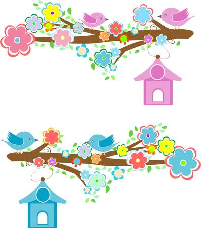 Cards with couples of birds sitting on branches and birdhouses Vector