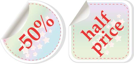 Half price sale stickers Vector