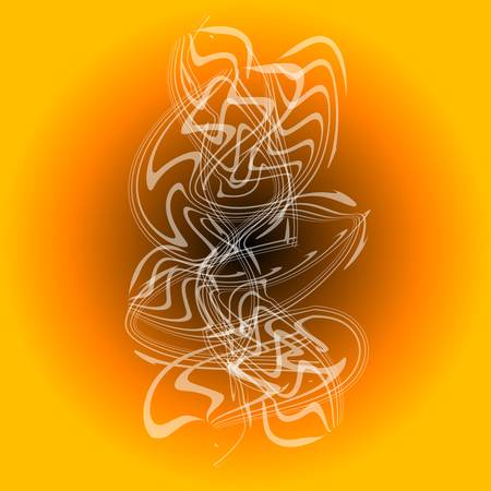 smell of burning: white smoke in orange abstract vintage background