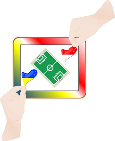 hands with national flag on computer tablet pc Stock Vector - 14211175