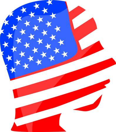 national hero: people head and face is painted in colors of usa american flag Illustration