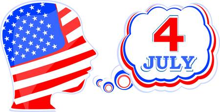 USA flag man with speech bubbles - independence day Vector