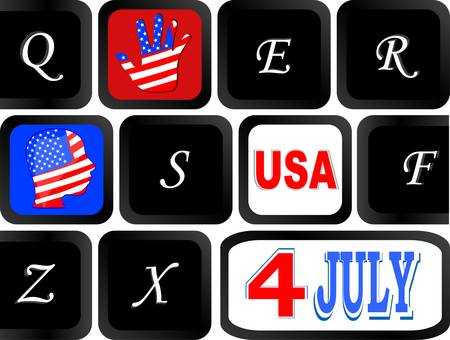 Computer keyboard with the US flag on it, Internet in United States Stock Vector - 14211192
