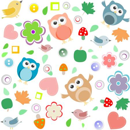 Bright background with owls, leafs, mushrooms and flowers. Seamless pattern Vector