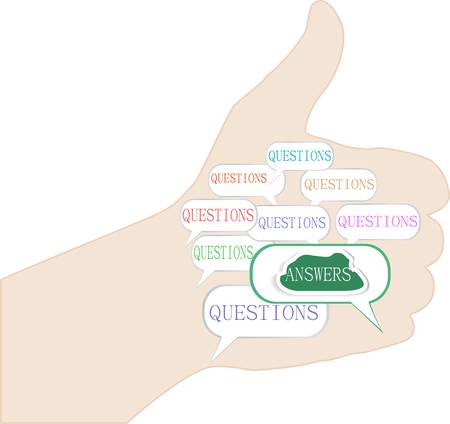 hand with question answer concept isolated on white Vector