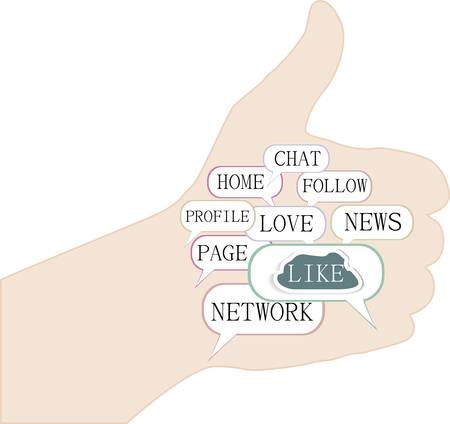 Illustration of the thumbs up symbol, which is composed of text keywords on social media themes Vector