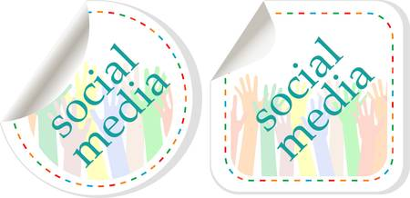 Social media sticker set with hands Vector