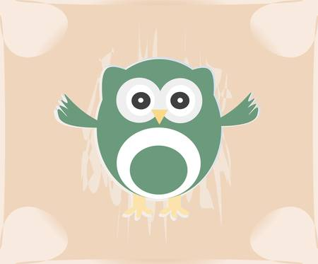 Vector cute owl card  Baby girl arrival announcement card Vector