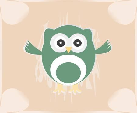 Vector cute owl card  Baby girl arrival announcement card Vector