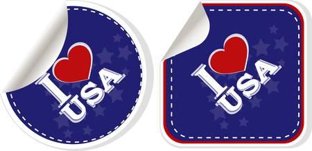 stickers set - i love USA.  Vector