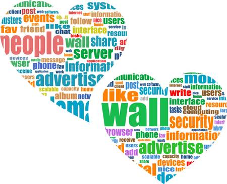 Social media marketing - word cloud in heart Vector