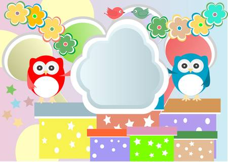 birthday party card with cute owl and birds Vector