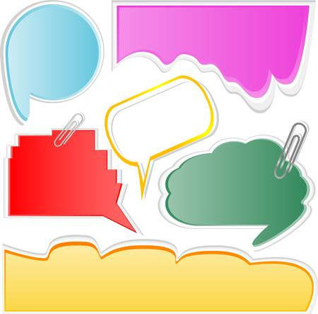 Paper speech bubble set. vector abstract stickers Stock Vector - 14211335