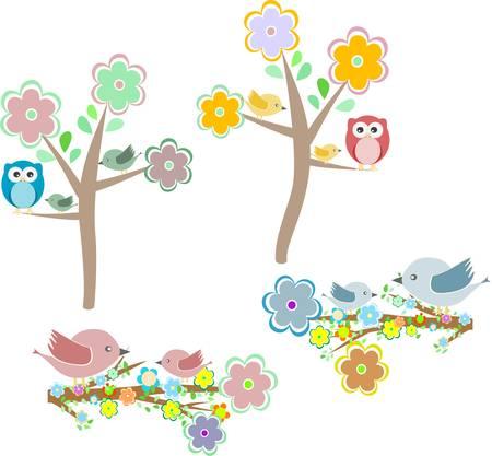 Conjunto de elementos de la naturaleza de otoño: búhos y pájaros en las ramas y el árbol de roble