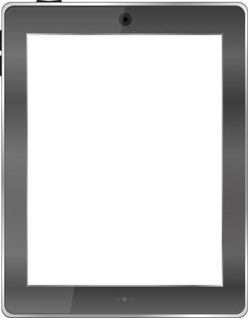 Realistic tablet pc computer with blank screen isolated on white background Vector