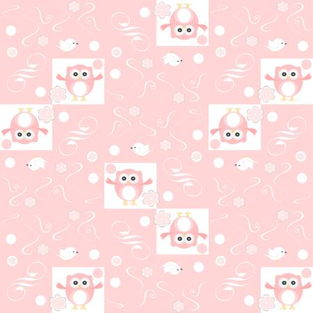 Cute floral seamless background with pink owls Vector