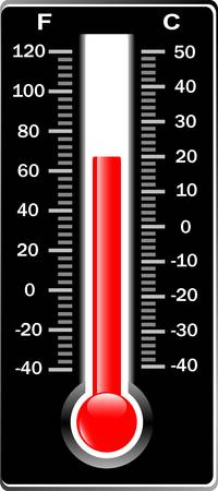 Thermometer. Vector. Celsius and Fahrenheit. Isolaetd on white Illustration