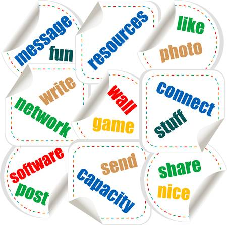 Social media stickers with networking concept words Stock Vector - 14472946
