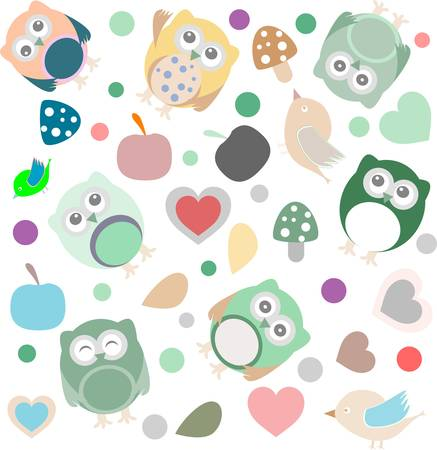 Bright background with owls, leafs, mushrooms and flowers. Seamless pattern. Vector