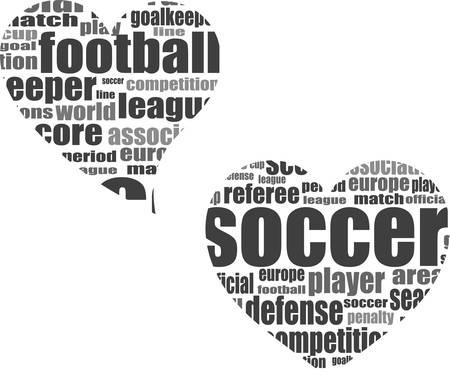 Football word cloud concept in heart shape - soccer them? Vector