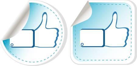 like hand: Stickers set with like hand illustration