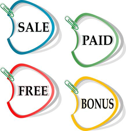 Set of stickers for best sales - sale, paid, free, bonus Stock Vector - 14433840