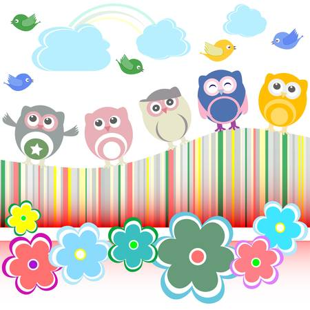 set of owls, birds, flowers, cloud and rainbow Vector
