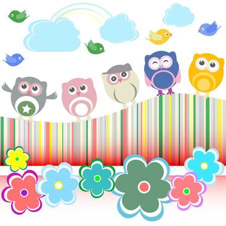 set of owls, birds, flowers, cloud and rainbow Vector