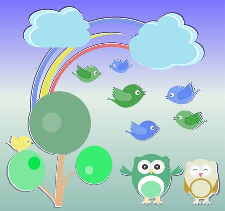 Background with owl, birds and trees, happy birthday Vector