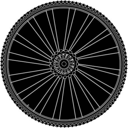 abstract bike wheel with tire and spokes. vector