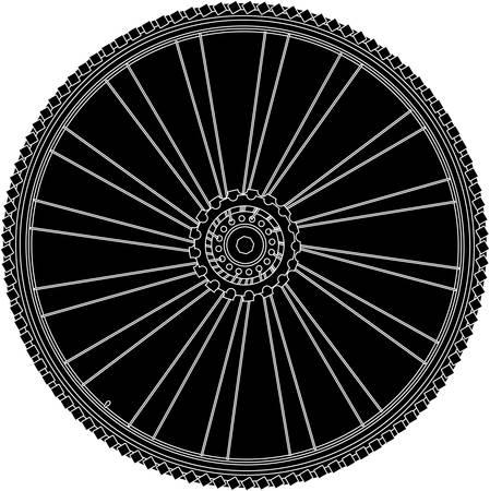 spokes: resumen de rueda de bicicleta con la llanta y los radios. vector