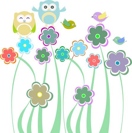 Cute kids background with flowers and birds and owls Vector