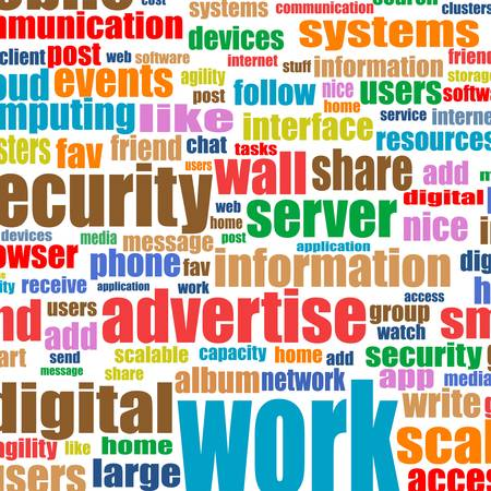 Social media and business concept in tag cloud background Vector