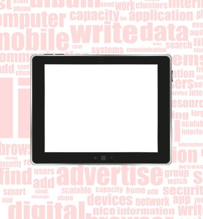 Black abstract tablet pc on socilal business word background Stock Vector - 14433948