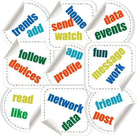 accessing: Medios de comunicaci�n social pegatinas concepto de negocio en la nube de palabra de la etiqueta Vectores