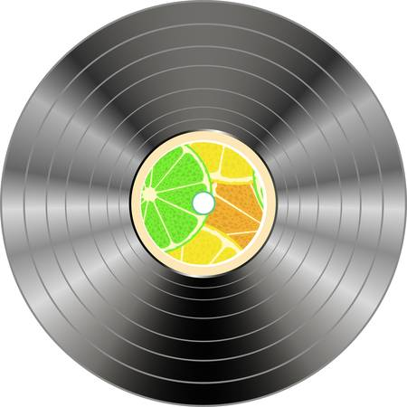 vinyl record isolated with summer juice circle Vector