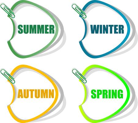 Set of stickers for seasonal collection - spring, summer, autumn, winter Vector