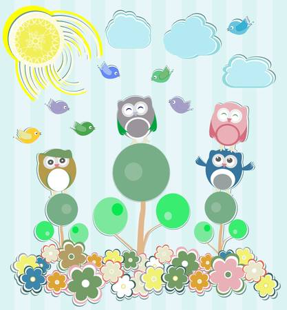 Background with flowers and owls sitting on the tree Vector