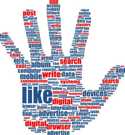 Illustration of the hands, which is composed of text keywords on social media themes. Isolated on white. Stock Vector - 14434066