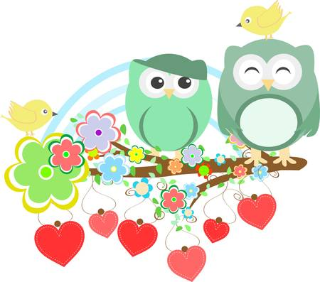 Two cute owls and bird on the flower tree branch Ilustração