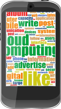 Touchscreen smartphone with social word cloud isolated on white background Vector