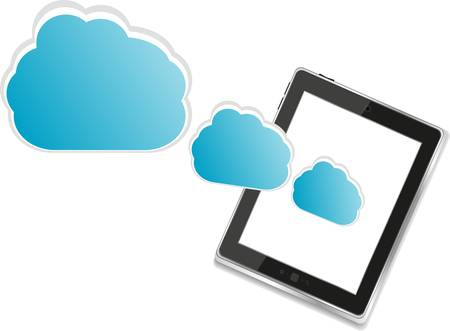 accessing: Cloud-computing connection on the digital tablet pc Illustration