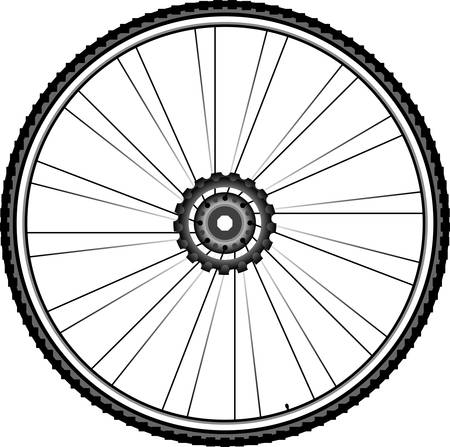 mountain bicycle: Bike wheel illustration isolated on white background Illustration