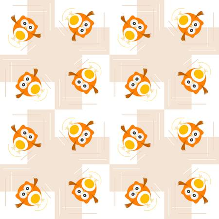 Seamless orange owl illustration pattern for cute kids Vector
