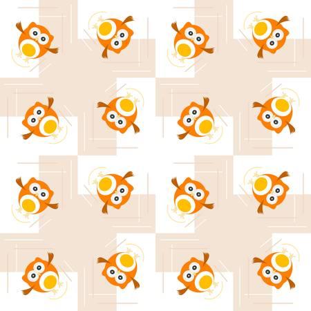 Seamless orange owl illustration pattern for cute kids Stock Vector - 14433901