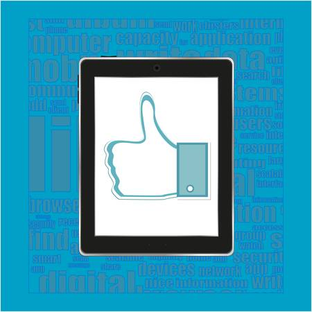 Abstract thumb up like hand symbol on tablet computer pc Vector